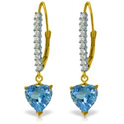 Genuine 3.55 ctw Blue Topaz & Diamond Earrings Jewelry 14KT Yellow Gold - REF-62P2H