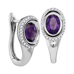 1.49 CTW Oval Natural Amethyst Diamond Hoop Earrings 14KT White Gold - REF-88F5N