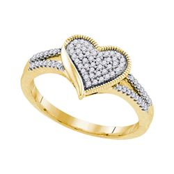 0.20 CTW Diamond Milgrain Heart Cluster Ring 10KT Yellow Gold - REF-24W2K