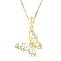 0.07 CTW Diamond Butterfly Bug Pendant 10KT Yellow Gold - REF-7F4N