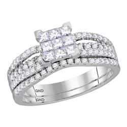 1.01 CTW Princess Diamond Cluster Bridal Engagement Ring 14KT White Gold - REF-89N9F