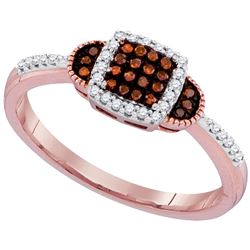 0.18 CTW Red Color Diamond Square Cluster Ring 10KT Rose Gold - REF-22K4W