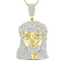 1.9 CTW Mens Diamond Jesus Christ Messiah Charm Pendant 10KT Yellow Gold - REF-112K5W