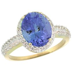 Natural 2.56 ctw Tanzanite & Diamond Engagement Ring 14K Yellow Gold - REF-88F2N