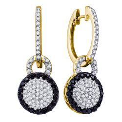 0.50 CTW Black Color Diamond Framed Cluster Dangle Earrings 10KT Yellow Gold - REF-44M9H