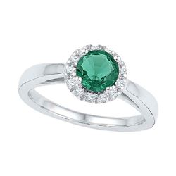 0.87 CTW Created Emerald Solitaire Ring 10KT White Gold - REF-19W4K