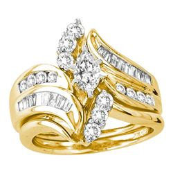 1.49 CTW Marquise Diamond Certified Bridal Engagement Ring 14KT Yellow Gold - REF-239M8H