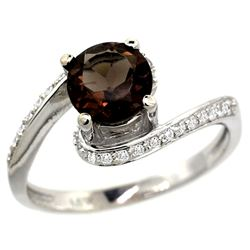 Natural 1.24 ctw smoky-topaz & Diamond Engagement Ring 10K White Gold - REF-42W9K