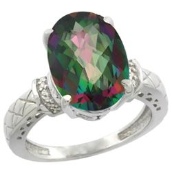Natural 5.53 ctw Mystic-topaz & Diamond Engagement Ring 10K White Gold - REF-44M6H