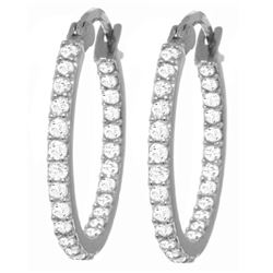 Genuine 0.75 ctw Diamond Anniversary Earrings Jewelry 14KT White Gold - REF-137X2M