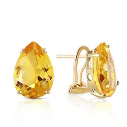 Genuine 10 ctw Citrine Earrings Jewelry 14KT Yellow Gold - REF-50R7P