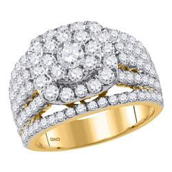2.97 CTW Diamond Cluster Bridal Engagement Ring 14KT Yellow Gold - REF-269K9W