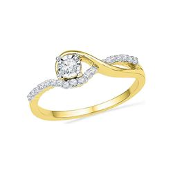 0.16 CTW Diamond Solitaire Bridal Engagement Ring 10KT Yellow Gold - REF-19Y4X