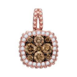 0.58 CTW Brown Diamond Square Cluster Pendant 14KT Rose Gold - REF-59Y9X