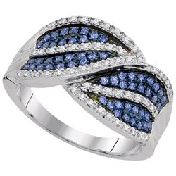 0.39 CTW Blue Color Diamond Ring 10KT White Gold - REF-41M9H