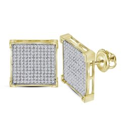 0.95 CTW Diamond Square Cluster Earrings 10KT Yellow Gold - REF-49K5W