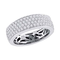 1 CTW Pave-set Diamond Comfort Wedding Ring 14KT White Gold - REF-119F9N