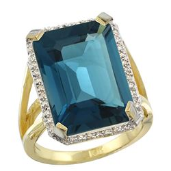 Natural 13.72 ctw London-blue-topaz & Diamond Engagement Ring 10K Yellow Gold - REF-70Y4X