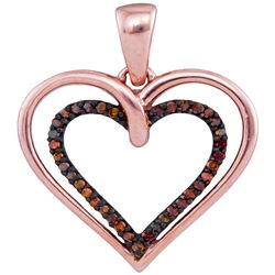 0.10 CTW Red Color Diamond Double Nested Heart Love Pendant 10KT Rose Gold - REF-14X9Y