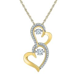 0.25 CTW Diamond Solitaire Double Heart Pendant 10KT Yellow Gold - REF-30W2K