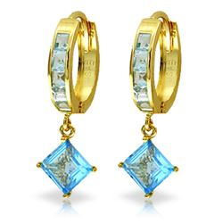 Genuine 4.4 ctw Blue Topaz Earrings Jewelry 14KT Yellow Gold - REF-53R6P
