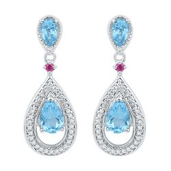 1.62 CTW Oval Created Blue Topaz Diamond Dangle Earrings 10KT White Gold - REF-22M4H