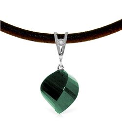 Genuine 15.26 ctw Green Sapphire Corundum & Diamond Necklace Jewelry 14KT White Gold - REF-49H8X