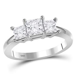 1.47 CTW Princess Diamond 3-stone Bridal Engagement Ring 14KT White Gold - REF-254K9W