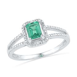 1.51 CTW Created Emerald Solitaire Diamond Split-shank Ring 10KT White Gold - REF-13W4K