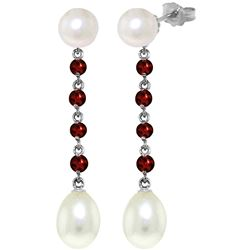 Genuine 11 ctw Pearl & Garnet Earrings Jewelry 14KT White Gold - REF-28V8W