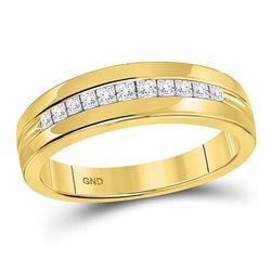0.50 CTW Mens Princess Diamond Wedding Ring 14KT Yellow Gold - REF-67F4N