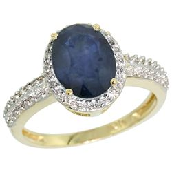Natural 2.31 ctw Blue-sapphire & Diamond Engagement Ring 10K Yellow Gold - REF-45F5N