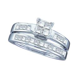 1 CTW Princess Diamond Bridal Engagement Ring 14KT White Gold - REF-109F4N