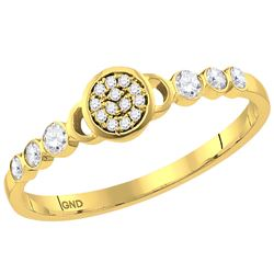 0.17 CTW Diamond Cluster Stackable Ring 10KT Yellow Gold - REF-16Y4X
