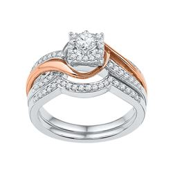 0.50 CTW Diamond Bridal Wedding Engagement Ring 10KT Two-tone Gold - REF-71M9H