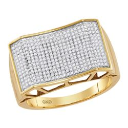0.59 CTW Mens Pave-set Diamond Rectangle Convex Cluster Ring 10KT Yellow Gold - REF-82Y4X