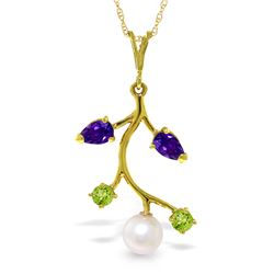 Genuine 2.7 ctw Amethyst, Peridot & Pearl Necklace Jewelry 14KT Yellow Gold - REF-29K7V