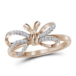 0.13 CTW Diamond Ribbon Bow Knot Ring 10KT Rose Gold - REF-18K7W