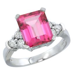 Natural 2.86 ctw pink-topaz & Diamond Engagement Ring 10K White Gold - REF-53Y5X