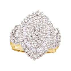 1.03 CTW Diamond Oval Cluster Ring 10KT Yellow Gold - REF-59H9M