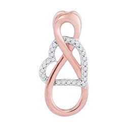 0.10 CTW Diamond Infinity Heart Pendant 10KT Two-tone Gold - REF-11F2N
