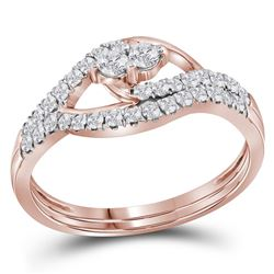 0.50 CTW Diamond 2-Stone Bridal Wedding Engagement Ring 10KT Rose Gold - REF-36M2H