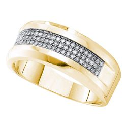 0.25 CTW Mens Pave-set Diamond Wedding Ring 10KT Yellow Gold - REF-37X5Y