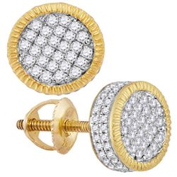 0.85 CTW Mens Diamond 3D Circle Cluster Stud Earrings 10KT Yellow Gold - REF-57Y2X