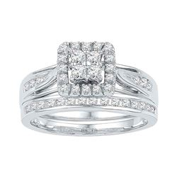 0.24 CTW Diamond Square Cluster Bridal Engagement Ring 10KT White Gold - REF-37X5Y
