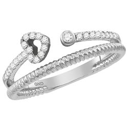 0.15 CTW Diamond Heart Bisected Stackable Ring 10KT White Gold - REF-20H9M