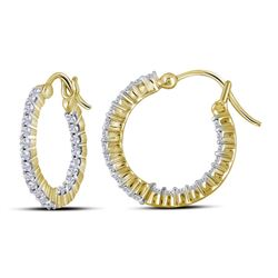 0.97 CTW Diamond Single Row Hoop Earrings 14KT Yellow Gold - REF-89X9Y