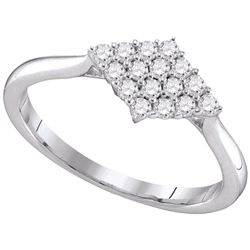 0.31 CTW Diamond Cluster Ring 10KT White Gold - REF-28H4M