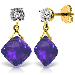 Genuine 17.56 ctw Amethyst & Diamond Earrings Jewelry 14KT Yellow Gold - REF-48T3A