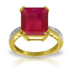Genuine 7.27 ctw Ruby & Diamond Ring Jewelry 14KT Yellow Gold - REF-120X2M